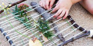 Webrahmen mit Naturmaterialien