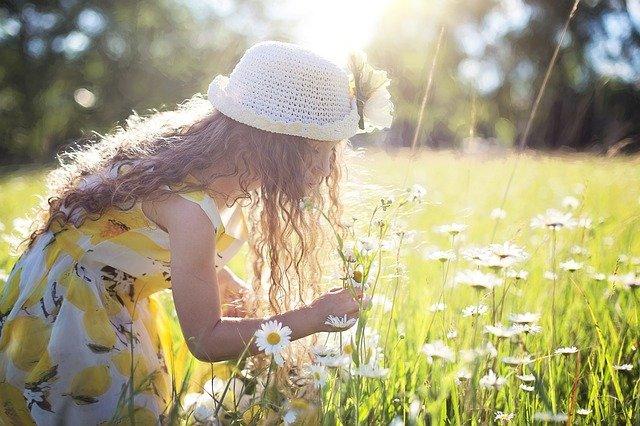 Mädchen pflückt Blumen auf Wiese